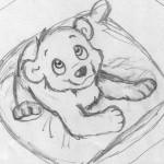 Kleiner Bär auf einem Kissen