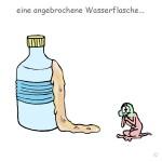 angebrochene Wasserflasche