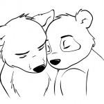 Wolf und Panda kuscheln