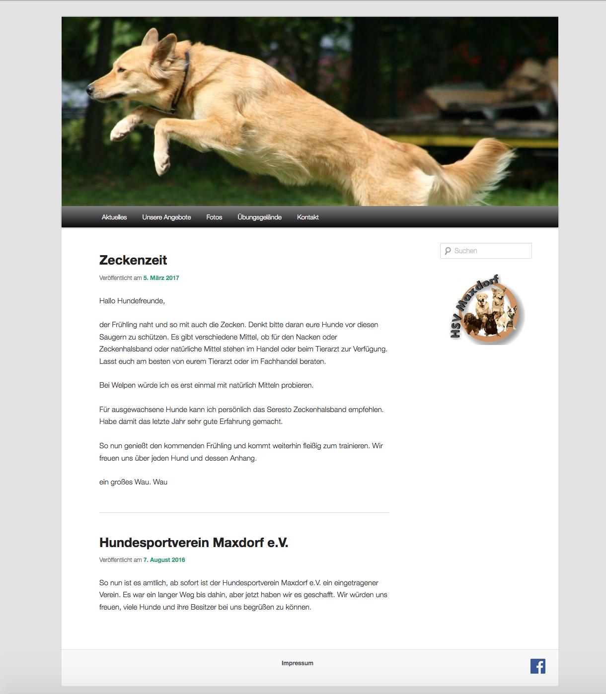 Hundesportverein Maxdorf Webseite Screenshot