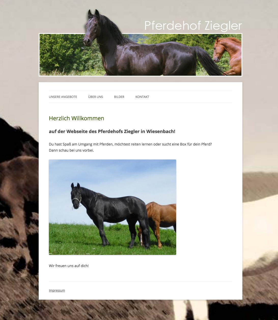 Pferdehof Ziegler Screenshot Webseite